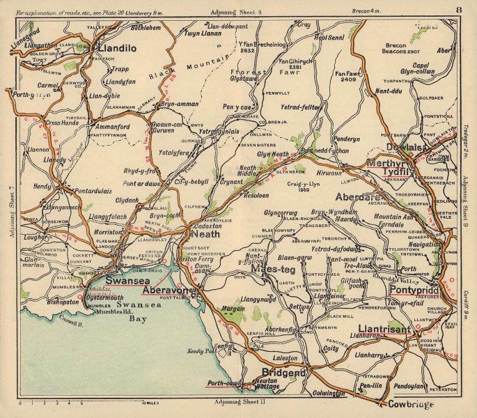Glamorgan road map. Swansea Merthyr Tydfil Bridgend Neath. BACON c1920 old