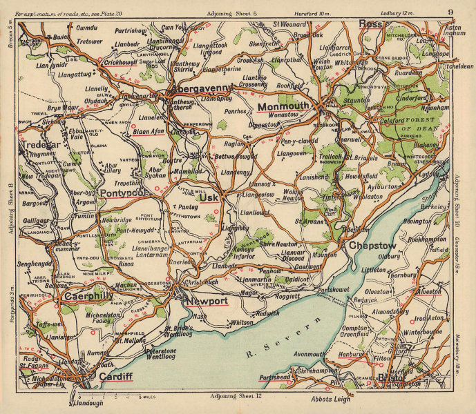Monmouthshire road map. Cardiff Caerphilly Newport Abergavenny. BACON c1920
