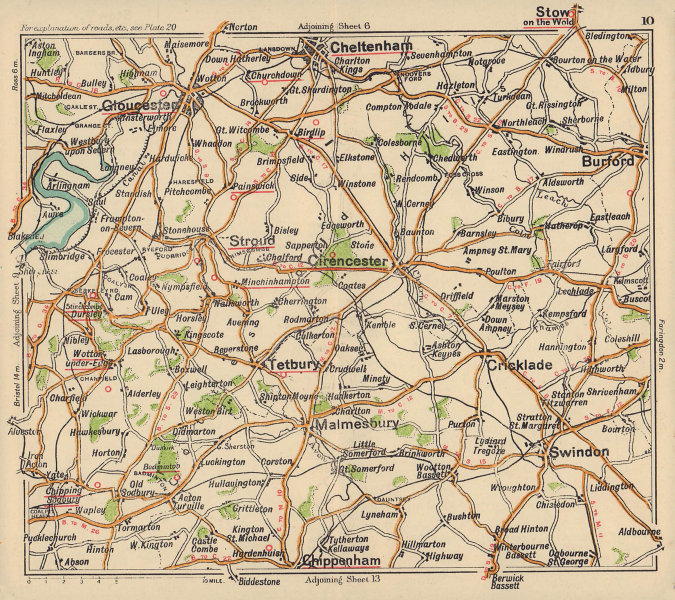 Cotswolds road map. Cirencester Gloucester Cheltenham Burford. BACON c1920
