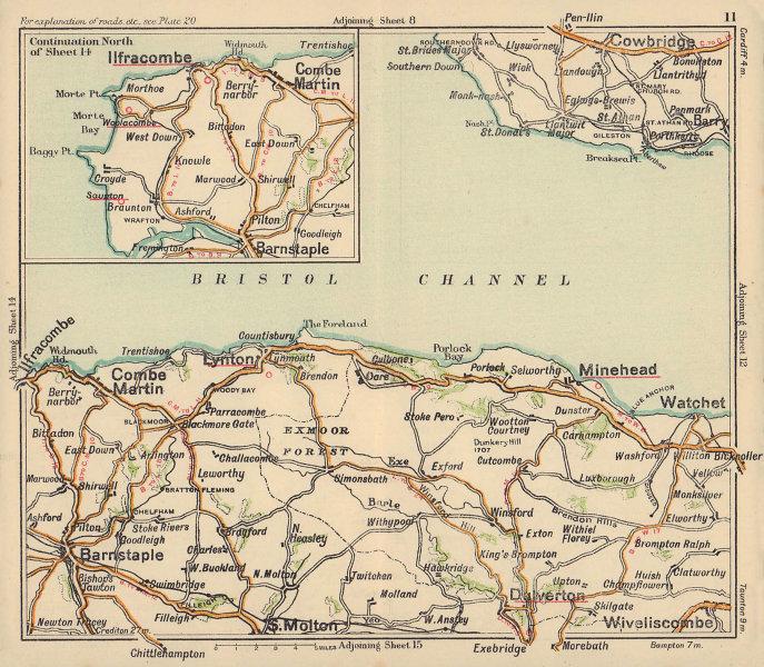 North Devon coast road map. Minehead Lynton Ilfracombe Barnstaple BACON c1920