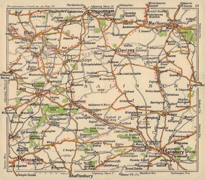 Salisbury plain road map. Chippenham Marlborough Devizes Bath. BACON c1920