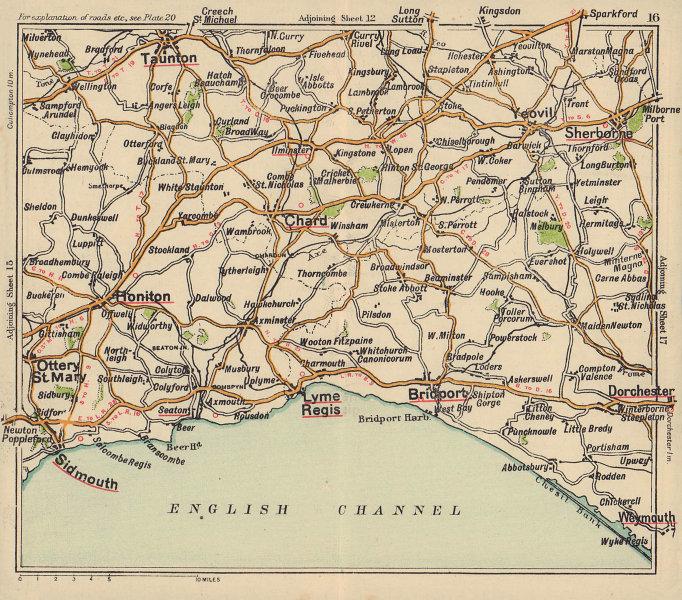 Jurassic Coast road map. Bridport Lyme Regis Sidmouth Taunton. BACON c1920