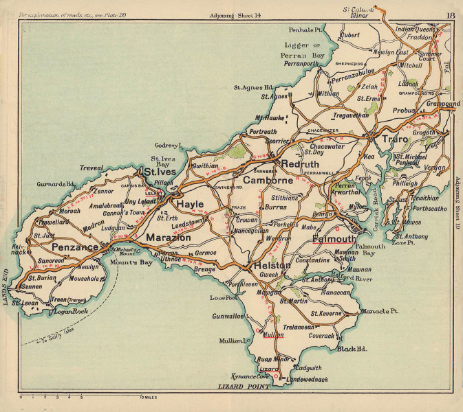 West Cornwall road map. Lizard Penzance Truro St Ives Land's End. BACON c1920