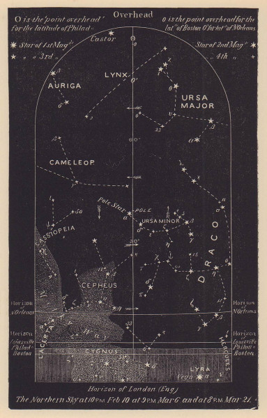 Northern night sky star chart March. Pisces. Feb 19-March 21. PROCTOR 1881