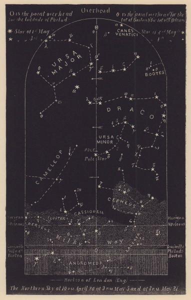 Northern night sky star chart May. Taurus. April 20-May 21. PROCTOR 1881 print