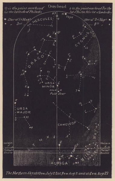 Northern night sky star chart August. Leo. July 22-Aug 23. PROCTOR 1881 print