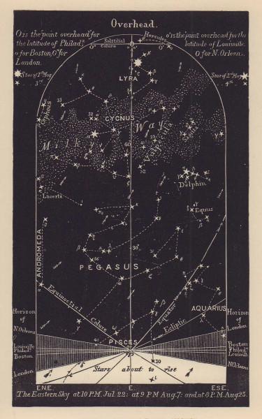 Eastern night sky star chart August. Leo. July 22-Aug 23. PROCTOR 1881 print