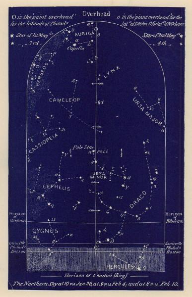 Northern night sky star chart February. Aquarius. Jan 20-Feb 19. PROCTOR 1882