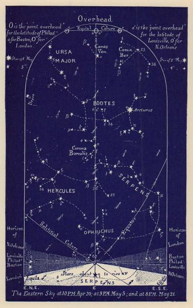 Eastern night sky star chart May. Taurus. April 20-May 21. PROCTOR 1882 print