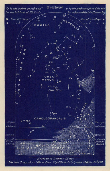 Northern night sky star chart July. Cancer. June 21-July 22. PROCTOR 1882