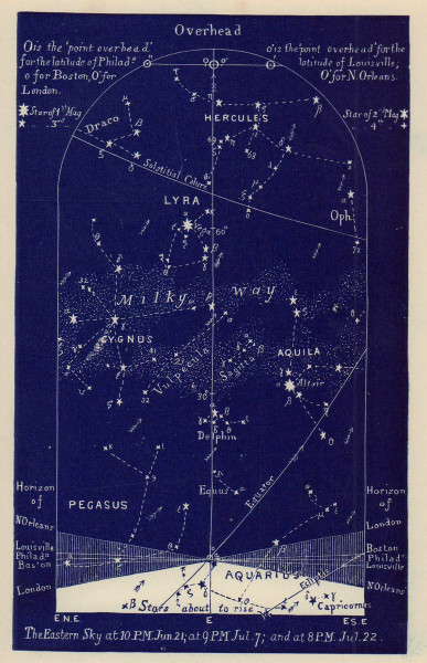Eastern night sky star chart July. Cancer. June 21-July 22. PROCTOR 1882 print