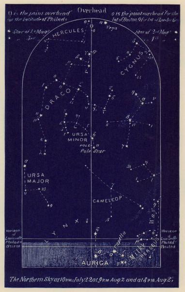 Northern night sky star chart August. Leo. July 22-Aug 23. PROCTOR 1882 print