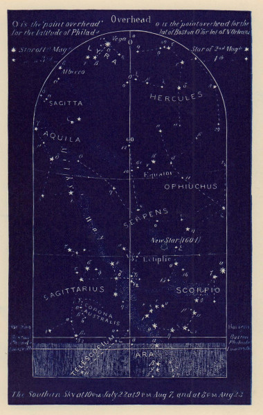Southern night sky star chart August. Leo. July 22-Aug 23. PROCTOR 1882 print