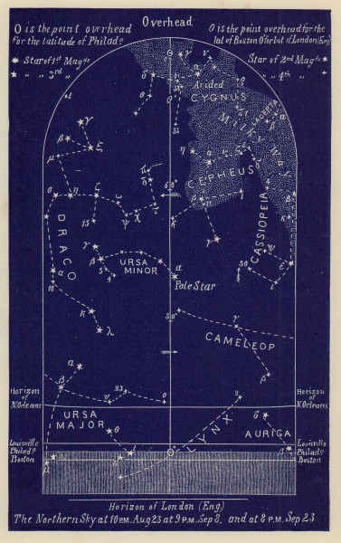 Northern night sky star chart September. Virgo. Aug 23-Sep 23. PROCTOR 1882