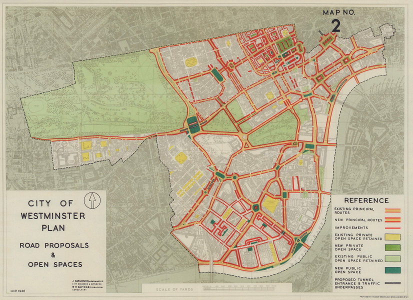 City of Westminster plan. New road proposals & open spaces. RAWLINSON 1946 map
