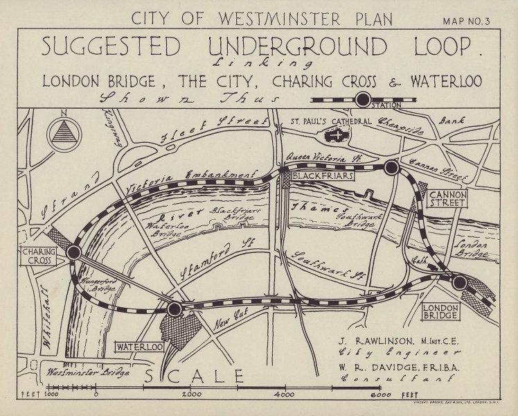 Proposed London Underground tube loop City Charing X Waterloo RAWLINSON 1946 map