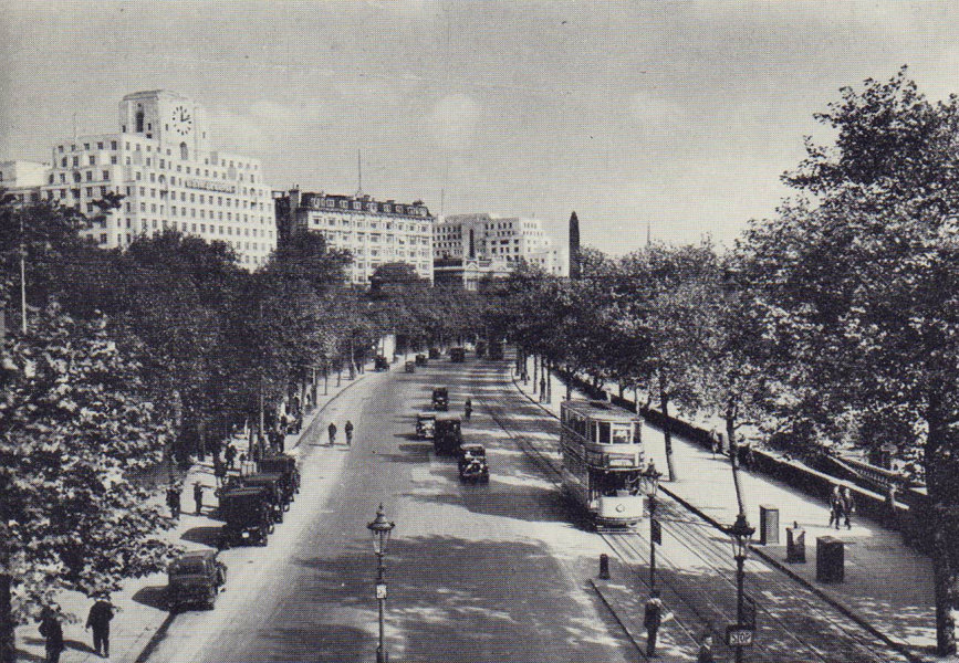Victoria Embankment looking east. Shell Mex building. Tram. SMALL 1946 print