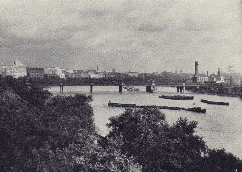The River Thames and north bank from New Scotland Yard. SMALL 1946 old print