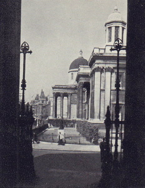 National Gallery, Trafalgar Square, from St. Martin-in-the-Fields. SMALL 1946