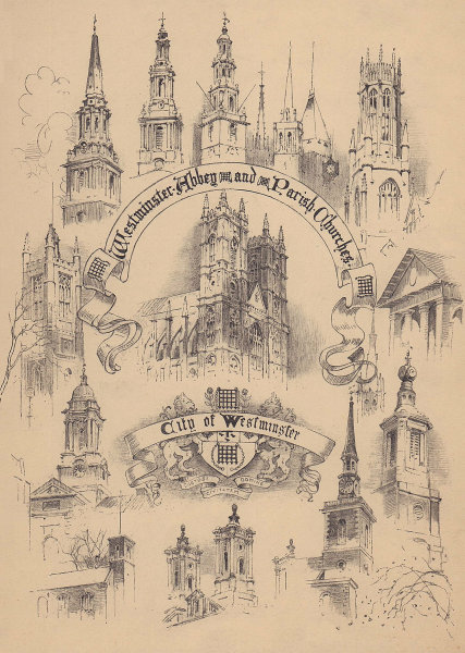 Westminster Abbey and Parish Churches - City of Westminster 1904 old print