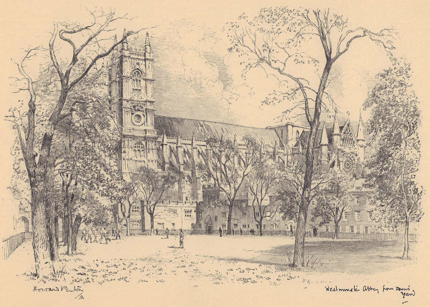 Westminster Abbey from Dean's Yard 1904 old antique vintage print picture