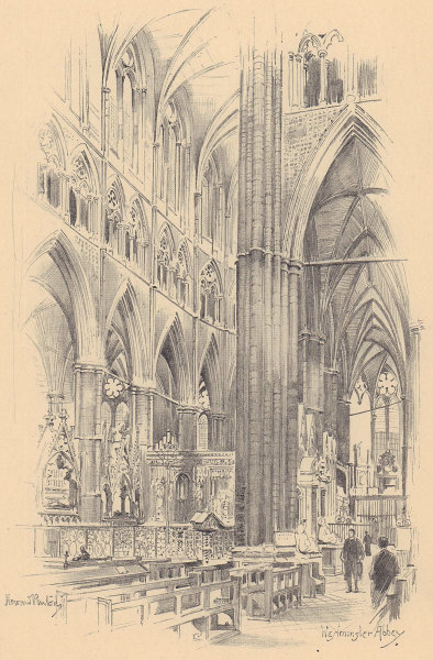 Westminster Abbey interior 1904 old antique vintage print picture