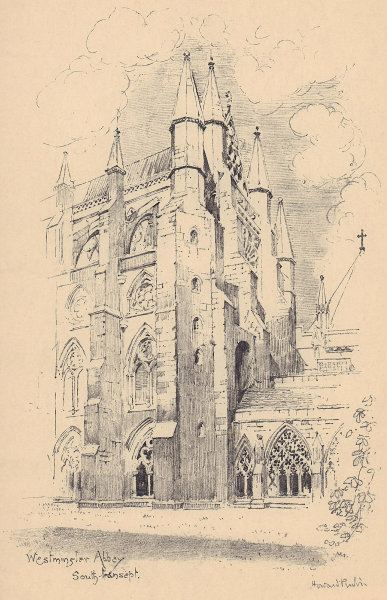 Westminster Abbey south transept 1904 old antique vintage print picture