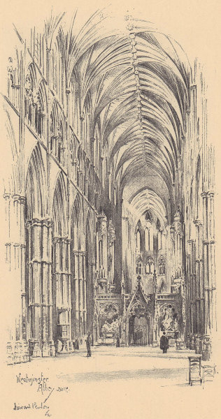 Westminster Abbey nave 1904 old antique vintage print picture