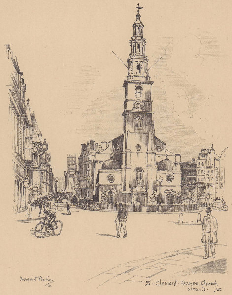 St. Clement Danes church, Strand, Westminster 1904 old antique print picture