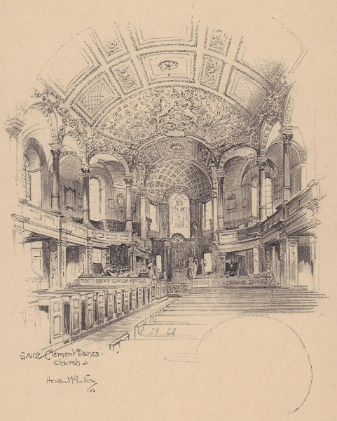 Saint Clement Danes church, Strand, interior. Westminster 1904 old print