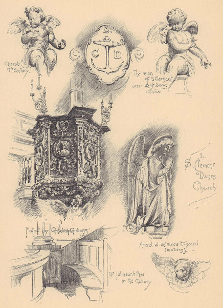 St. Clement Danes church. Grindling Gibbons pulpit. Dr. Johnson's pew 1904