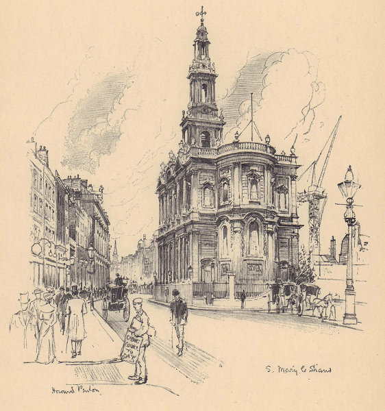 St. Mary-le-Strand church, Westminster 1904 old antique vintage print picture