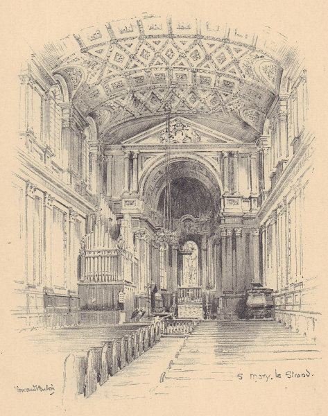 St. Mary-le-Strand church, interior. Westminster 1904 old antique print