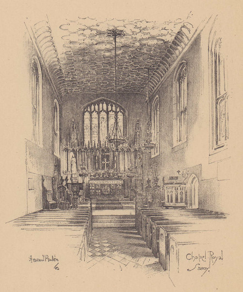Chapel Royal Savoy, interior. Westminster 1904 old antique print picture