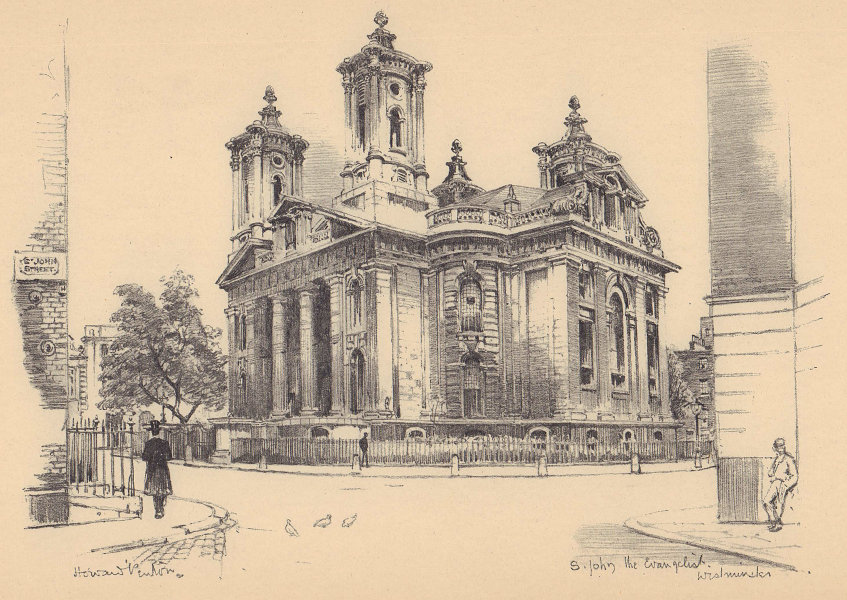 St. John the Evangelist church, Smith Square, Westminster 1904 old print