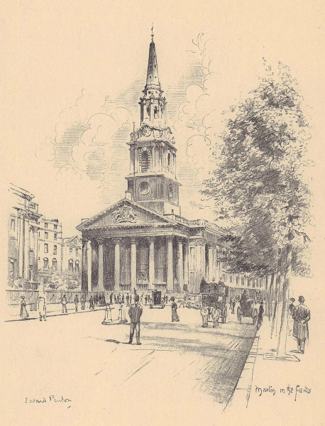 St. Martin-in-the-Fields church, Trafalgar Square. West front. Westminster 1904