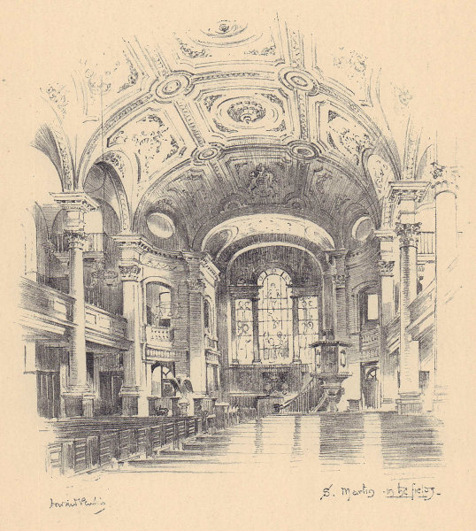 St. Martin-in-the-Fields church, Trafalgar Square. Westminster 1904 old print
