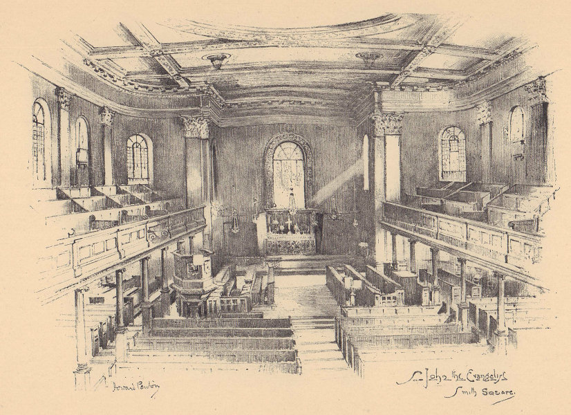 St. John the Evangelist, Smith Square, Westminster. Interior 1904 old print