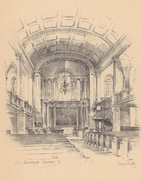 St. George's church Hanover Square, Westminster, interior 1904 old print