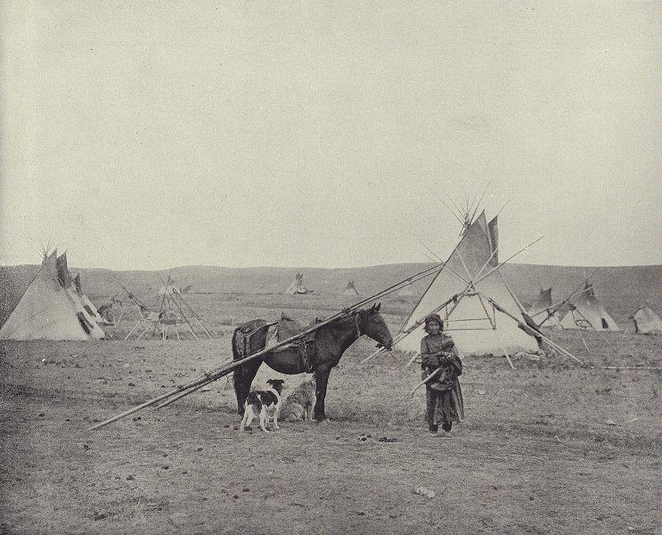 A Native American (Comanche?) Indian camp. Texas. STODDARD 1895 old print