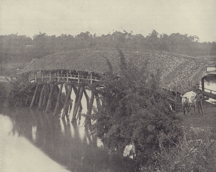 The Covered Bridge of Son-Tay, Vietnam. STODDARD 1895 old antique print