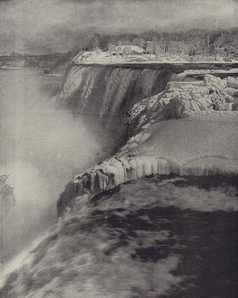 Niagara Falls in winter. North America. STODDARD 1895 old antique print