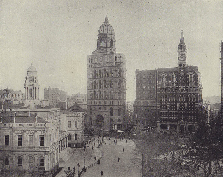 Printing House Square/Park Row, New York City. STODDARD 1895 old antique