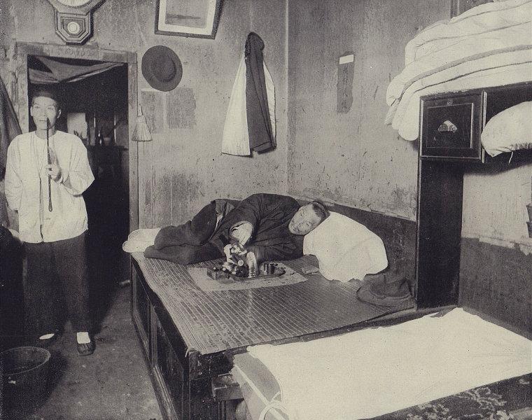 An Opium den in San Francisco. California. STODDARD 1895 old antique print