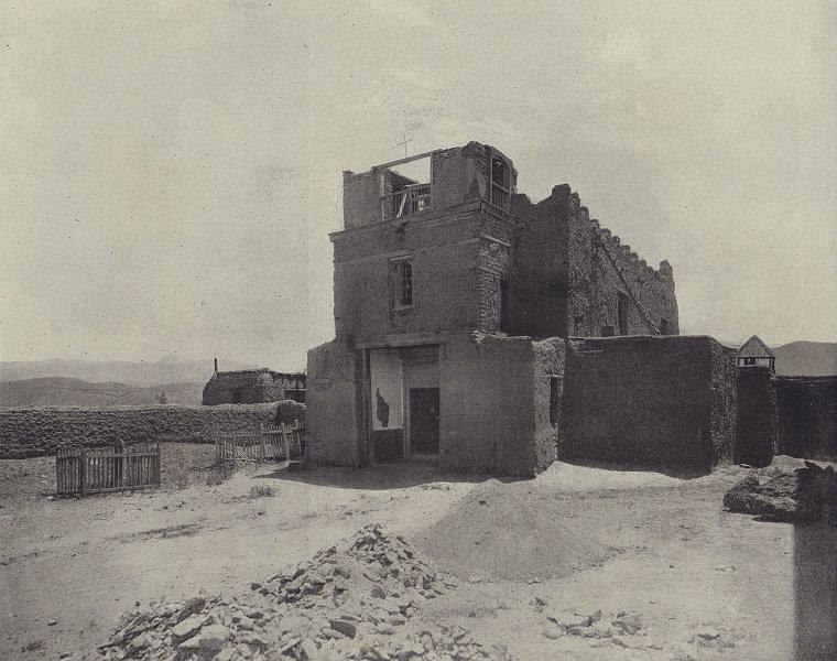 San Miguel Mission church, Santa Fe, New Mexico. STODDARD 1895 old print