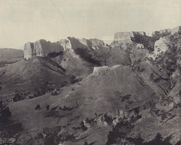 """Spanish Peaks"" [Scotts Bluff National Monument], Nebraska. STODDARD 1895"