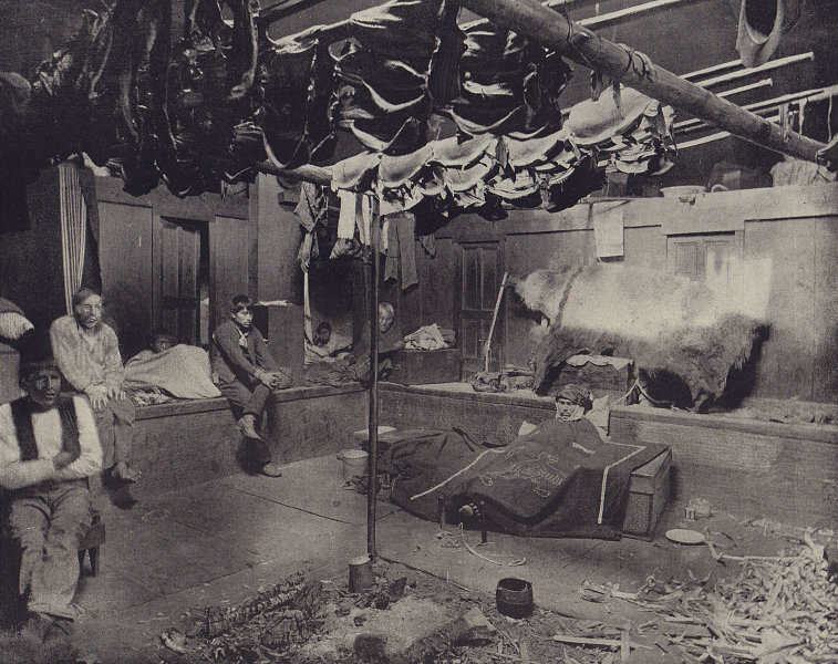 Inside an Indian hut in Yakutat Bay in Alaska. STODDARD 1895 old antique print