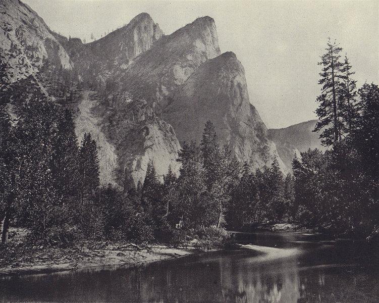 The Three Brothers, Yosemite, California. STODDARD 1895 old antique print