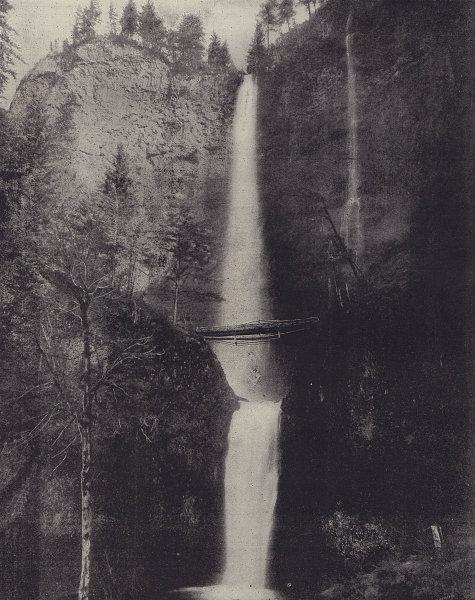 Multnomah Falls, Oregon. STODDARD 1895 old antique vintage print picture