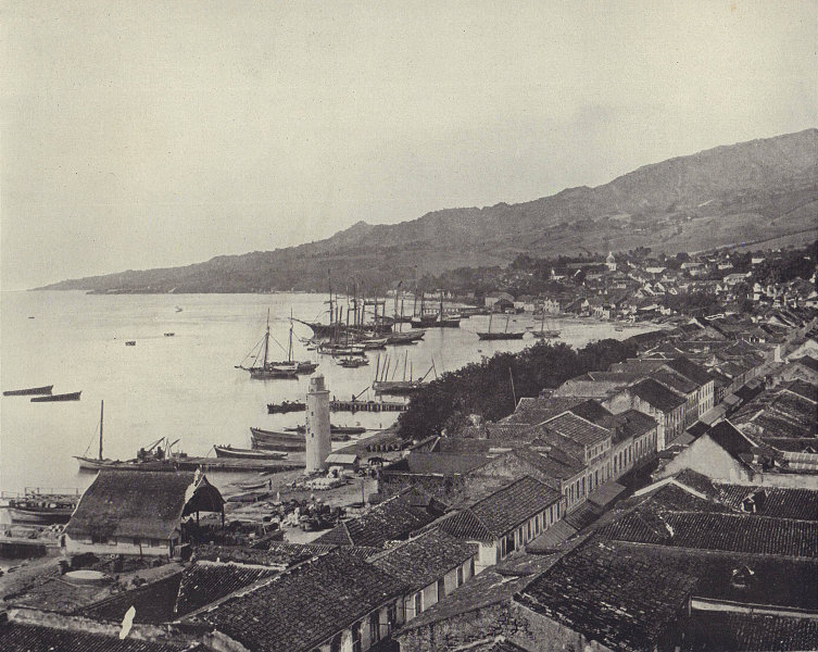 The city of Saint-Pierre, Martinique. West Indies. STODDARD 1895 old print